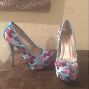 Teal/ baby blue heels with fuchsia butterflies